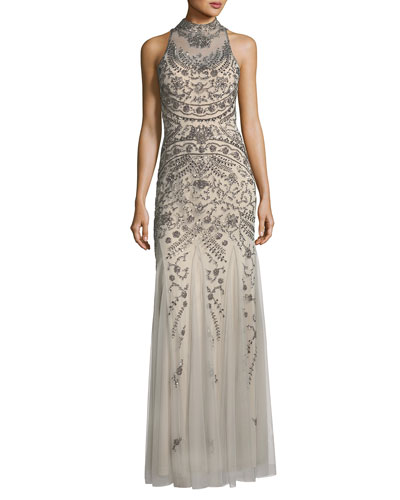 Embellished Mock-Neck Open-Back Gown