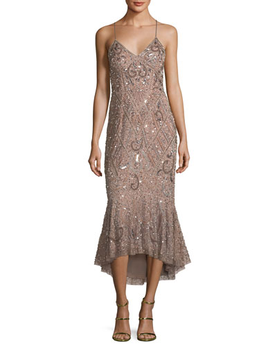 Beaded Mermaid Slip Midi Dress