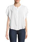 Paradise Cove Ruffle-Sleeve Button-Front Top