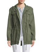 Hooded Zip-Front Anorak Jacket