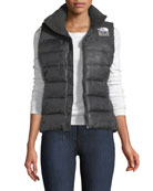 Nuptse Standard Zip-Front Down Puffer Vest with Flag-Print Lining