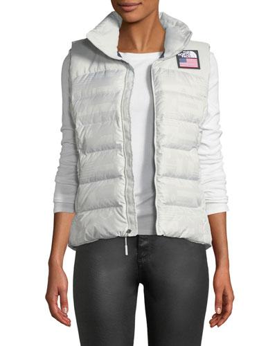 Nuptse Standard Full-Zip Down Puffer Vest with Star-Print Lining