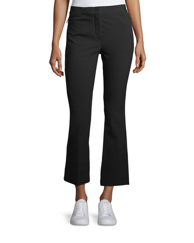 Mid-Rise Bi-Stretch Kick-Flare Cropped Pants