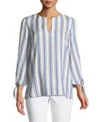 Khloe Awning Striped Tie-Cuff Silk Blouse