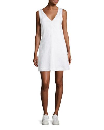 V-Neck Sleeveless A-Line Integrate Linen Dress in White