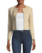 Morene Zip-Front Cropped Stretch-Hide Suede Jacket