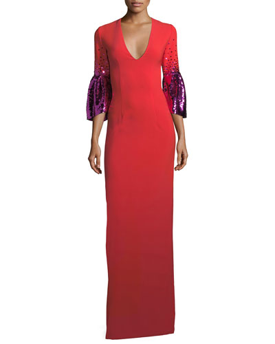 Byzas Sequin Bell-Sleeve V-Neck Column Dress