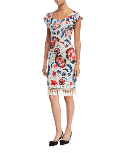 Hemuskudar Floral Tassel Short-Sleeve Cocktail Sheath Dress