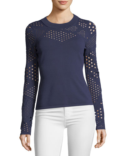 Pointelle-Inset Fracture Top