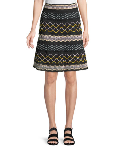 Ribbon Wave Striped A-line Skirt