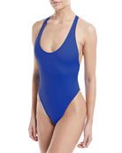 Marini Scoop-Neck Maillot Solid One-Piece Swimsuit