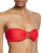 String-Detail Bandeau Bikini Top