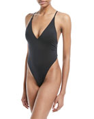 Cross-Back High-Cut Solid One-Piece Swimsuit