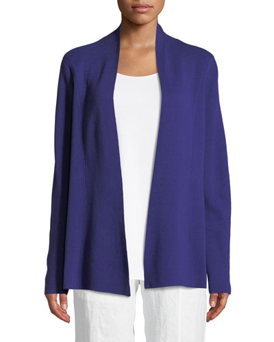 Silk-Blend Interlock Open-Front Jacket, Petite