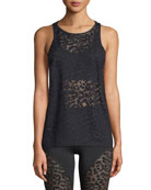 Dash Racerback Cheetah-Burnout Sheer Sports Tank