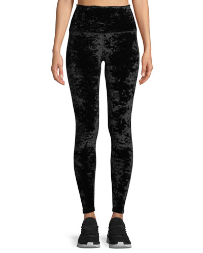 Crushed Velvet High-Rise Leggings