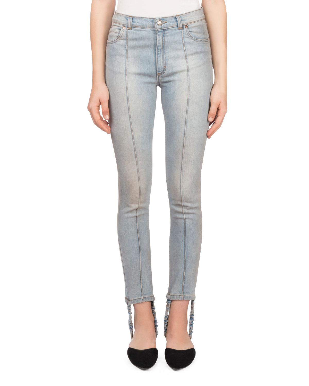Benson Skinny-Leg Light-Wash Jeans with Stirrup