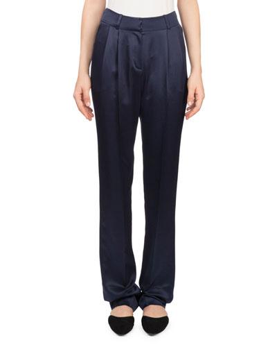 Halle High-Waist Straight-Leg Silk Trousers