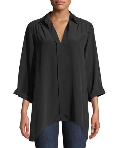 Dolman-Sleeve Silk Tunic, Plus Size