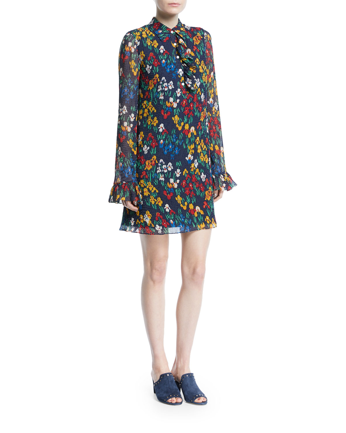 Livia Iris Garden Printed Long-Sleeve Dress