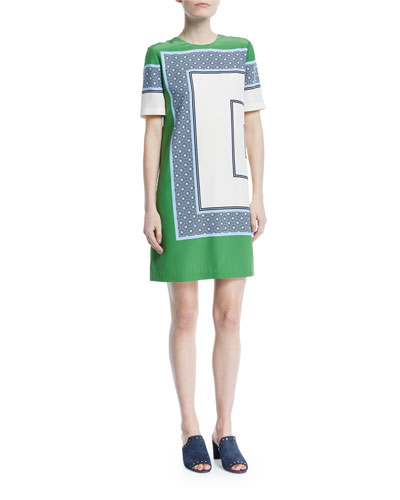 Mallory Scarf-Print Short-Sleeve Shift Dress