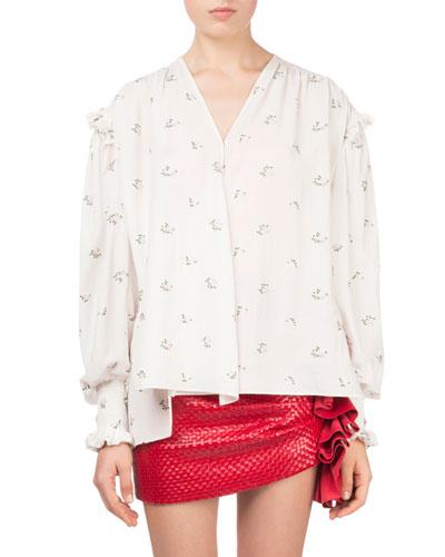 Granelli Small Floral-Print Silk Tunic Blouse