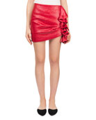 Boca Fitted Side-Ruffle Basketweave Leather Mini Skirt