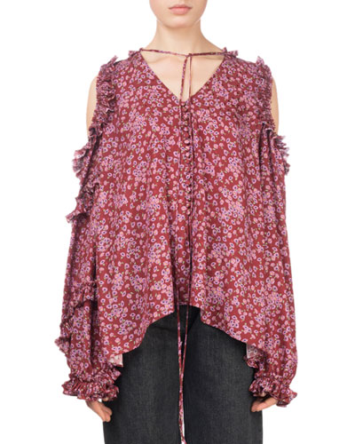 Rijeka Floral-Print Open-Shoulder Silk Blouse w/ Ruffled Trim