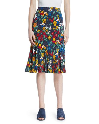 Jada Floral-Print Jersey Skirt