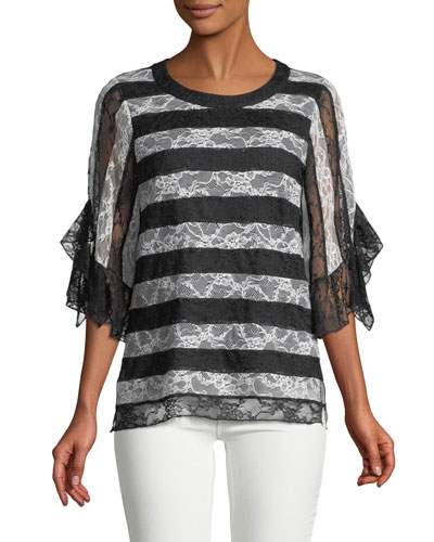 Opal Crewneck Striped Lace Blouse