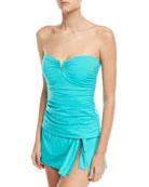 V-Wire Shirred Long Bandini Swim Top