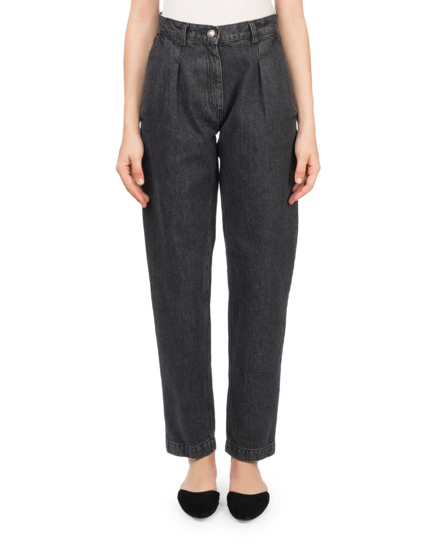 Huntsville High-Waist Pleated Stovepipe Jeans
