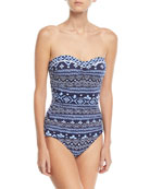 Bandeau Printed One-Piece Swimsuit