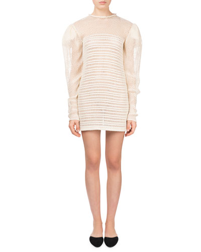 Cruz Puff-Sleeve Crochet Woven Leather Mini Cocktail Dress