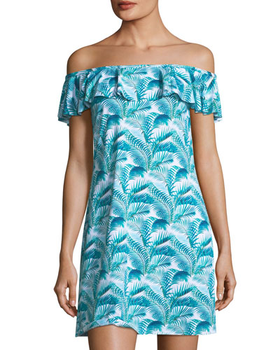 Off-the-Shoulder Ruffle Spa Dress with Pockets