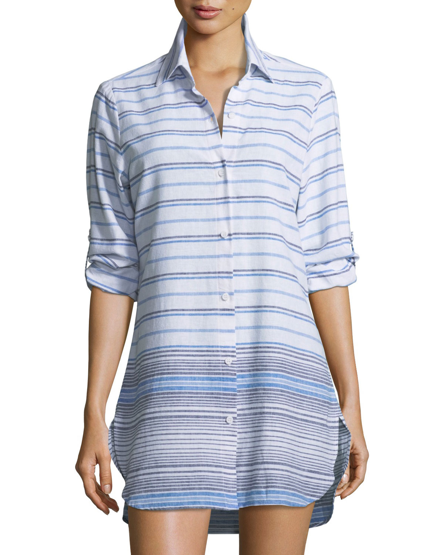 Button-Front Striped Linen Beach Shirt