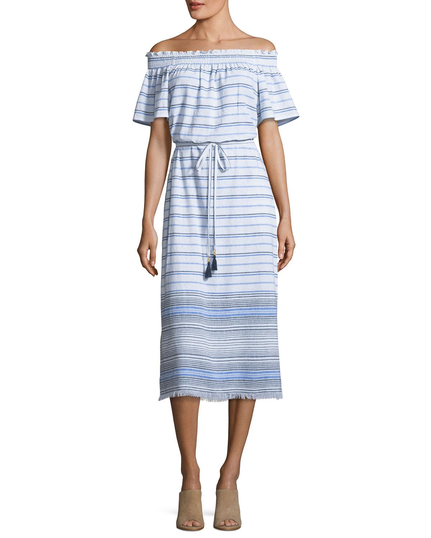 Off-the-Shoulder Striped Linen Midi Dress with Frayed Hem