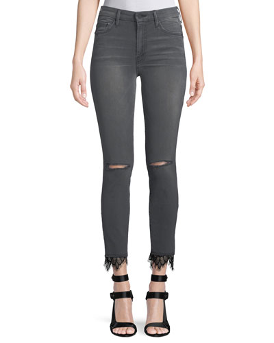 Looker High-Rise Skinny-Leg Ankle Jeans with Lace Hem