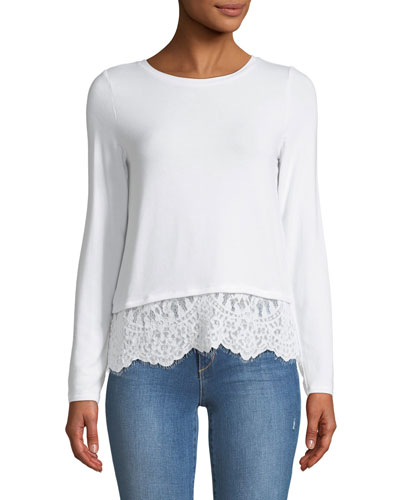 Jules Crewneck Long-Sleeve Top with Lace Hem