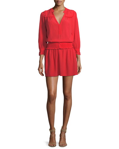 Trac Split-Neck Long-Sleeve Short Dress
