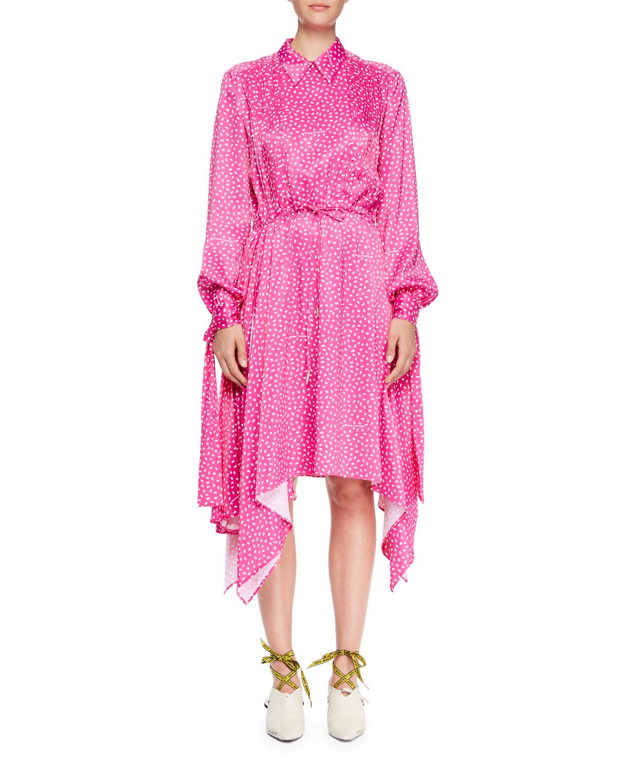 Dot-Print Drawstring Satin Dress with Hanky Hem