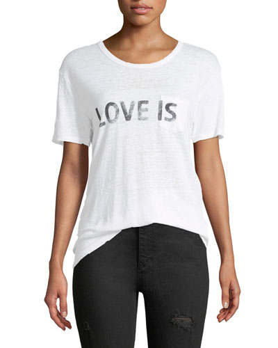 Amber Love Is Crewneck Short-Sleeve Linen T-Shirt