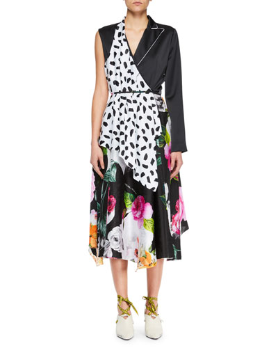 Multi-Print One-Sleeve Draped Midi Dress