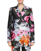 Floral-Jacquard Double-Breasted Jacket