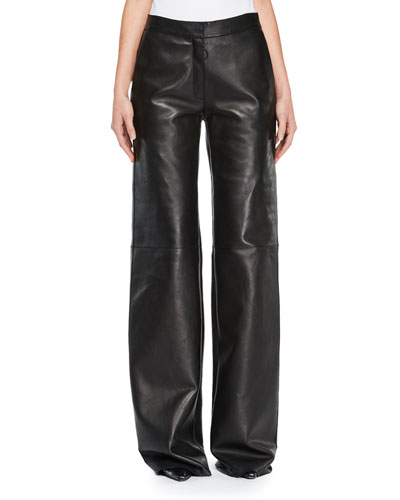 Wide-Leg Leather Pants
