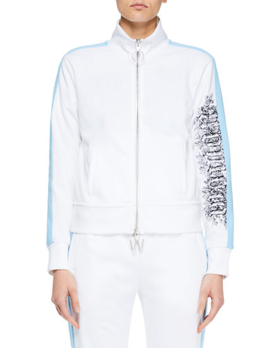 Zip-Front Track Jacket with Side Stripes