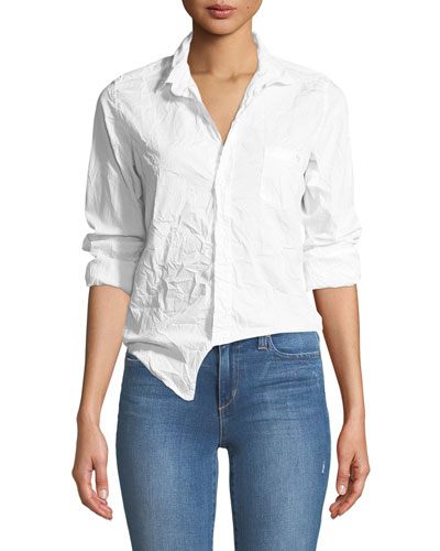 Barry Button-Front Crinkled Cotton Shirt