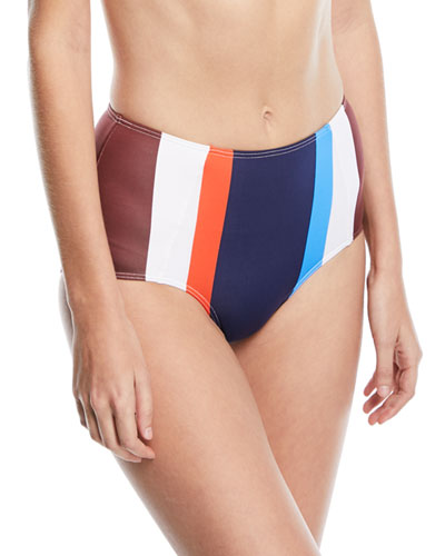 Ava High-Waist Striped Swim Bottoms