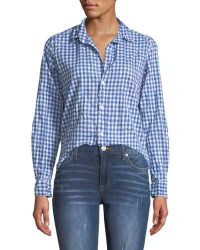 Barry Button-Front Gingham Cotton Shirt