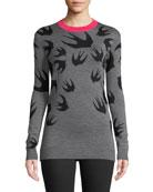 Swallow-Jacquard Crewneck Wool Sweater